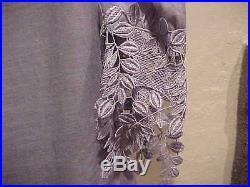 Rare Vintage Blue Long Linen Dress With Handmade Crochet Trim Matching Slip 10