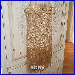 Rare Vintage H & M Roberto Cavalli Gold Bead Fringe Party Dress Small US 6/8