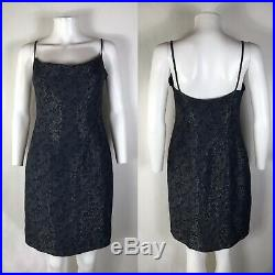 Rare Vtg Christian Dior by John Galliano Metallic Navy Short Slip Dress M SS1998