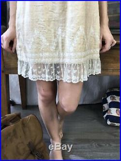 Raw Silk Lace Edwardian Dress Slip 1910's Dress 1920's Blouse Dress Vtg 20's