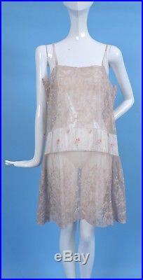 Romantic Flapper 1920s Ecru Lace Slip 4 Dress W Floral Silk Waist