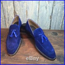 Royal Blue Color Tassel Loafer Slip On Vintage Suede Leather Party Wear Shoes