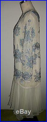 Royal Cruise Line White Slip Dress with Blue White Sequined Beaded Top Sz XL