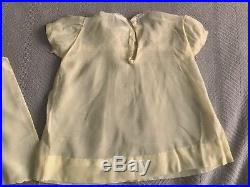 Ruffle Pinafore and Dress Embroidered Yellow Slip 40s 50s Baby Girls Vintage Vtg