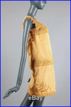 S/M Vintage 1960s Yellow Mini GoGo Dress Fringe 20s Revival Loose Slip On 60s
