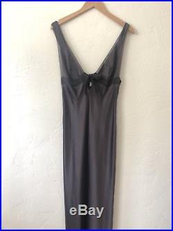 SELITE silk nightgown SLIP DRESS Italy gray SUSAN HUNTER sz M L
