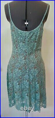 SEXY VINTAGE 1990s OZBEK SLIP DRESS BLUE FLORAL LACE BROWN CREPE LINING SIZE 10