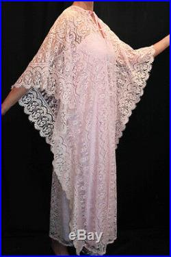 SM 2pc DRESS +SLIP VTG 60s BOHO CAFTAN PINK ALL LACE MAXI Hostess Lounge Gown