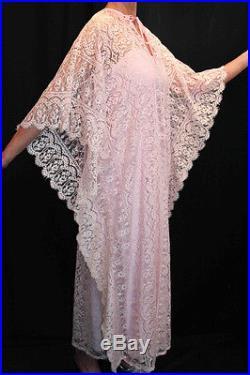 SM 2pc PINK Crochet ALL LACE VTG 60s 70s BOHO CAFTAN + MAXI SLIP DRESS