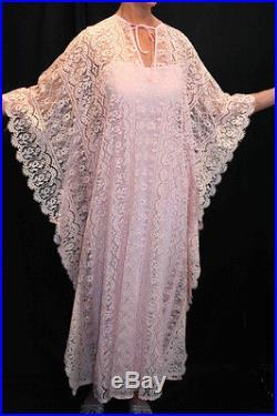 SM 2pc VTG 60s 70s BOHO CAFTAN PINK Crochet ALL LACE MAXI DRESS and SLIP