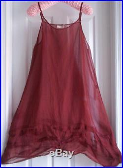 STUNNING Vintage Krista Larson deep dark rich red Silk Organza wavy slip
