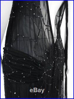 STUNNING WOMENS VINTAGE GHOST EMBELLISHED SLIP MAXI DRESS 10 BLACK 20s 30s DECO