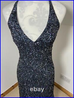 Serenade Vintage Silk Blue Green Size 10 Long Maxi Dress Sequin Slip Backless