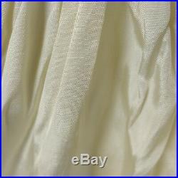 Sheer Organza Dress Vtg 50s Ivory Full Circle Embroider Wired Hoop Slip Wedding
