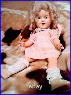 Shirley Temple Doll 13 With Vintage Dress & Matching Bonnet, Slip, Socks, Shoes