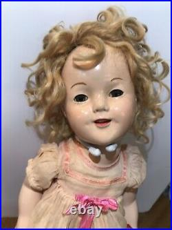 Shirley Temple doll 1930s vintage 18 IDEAL with Tagged dress slip composition