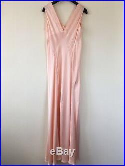 Silk Gown Dress Slip Salmon Pink Pure Silk Vintage Retro Authentic 40s