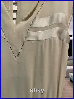 Silk/Sheer beige 1920's Chloe Dress with Slip
