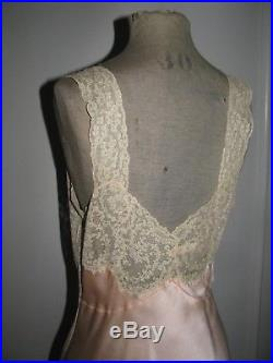 Silk Slip Dress Gown Floral Alencon Lace Insets Garlands Vtg Lord & Taylor Exc