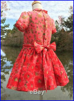 Size 6, CHRISTMAS Girl's Vintage Red Sheer Voile Floral Dress & Red Slip 1950's