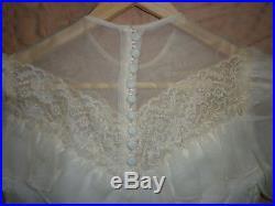 Small Vintage Wedding Dress Antique White, Hoop Skirt / Slip, Veil Lace, Train
