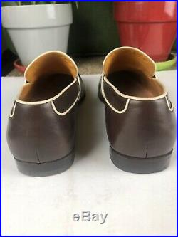 Soft Leather Gucci Chocolate Brown Slip-On Loafers with Cream Trim US 10 Euro 43