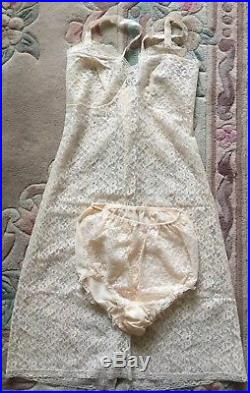 St Michael Set Vintage Lingerie Cream Nylon Lace Dress Petticoat Pantie Slip 12