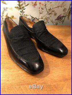 Star ARTIOLI Vintage Leather Black Handmade Slip On Italian Shoes 10.5 UK