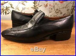 Star ARTIOLI Vintage Leather Black Handmade Slip On Italian Shoes 10 UK