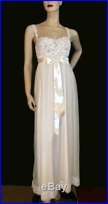 Stretch Bra Top WHT VTG Chiffon DBL LYR Lingerie Slip Gown Dress Nightgown L