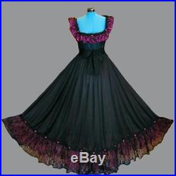Stretch Top L Sweep Tall Black Dress Couture Gown Vintage Lace Slip Nightgown 2X