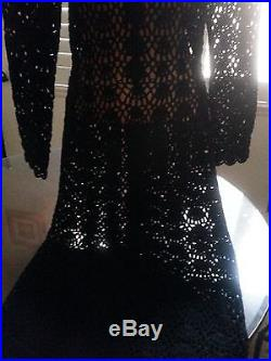 Stunning Black Crochet Dress Long Sleeves With Detached Slip/Lining & Tie