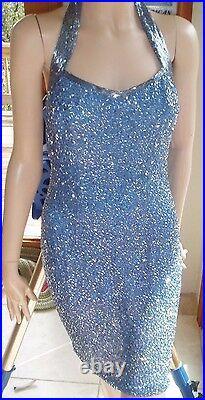 Stunning Cache Vintage Perfect Periwinkle Silk S/s Beaded Halter Mini Dress