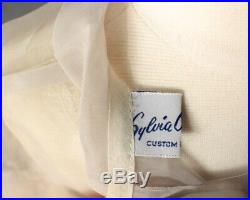 Sz 6x Auth Vtg 1950's Sheer Organdy Embroidered Party Easter Wedding Dress, Slip