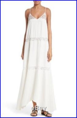 THEORY Ivory Lace WALELA Slip Dress Maxi Vtg Style Flowy Festival Boho Beach 4
