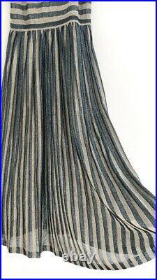 THIERRY MUGLER PAR GUDULE PARIS VINTAGE 1970s OPEN BACK LAMÈ SLIP DRESS SIZE S-M