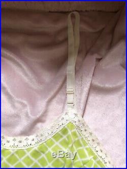 TRUE VINTAGE 1960s 70s Mod Retro Lace Slip Summer Lingerie Mini Dress Lime