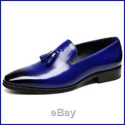 Tassel Loafer Slip On Shoes Men Blue Color Burnished Derby Toe Vintage Leather