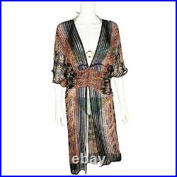 The Silk Farm by Icinoo vintage 70's pleated slip beach cover up cardigan Size 6