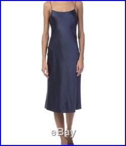 Theory Telson 100%Silk Satin Slip Dress Vintage Dark Brisk(NAVY) NWT $375+