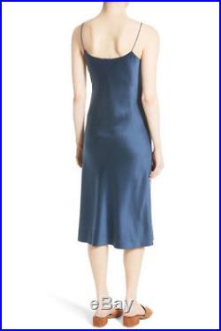 Theory Telson Vintage 100% Silk Satin Slip Dress Dark Brisk Sz 8 NWT $375