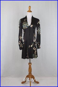 Trina Turk 1930's 40's Inspired Long Sleeve Silk Slip Dress Retro French Woman 0