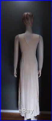 True 1920s Vintage Intricate Embroidered Silk Slip Dress Small Stunning Example