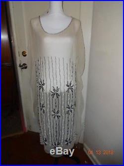 True Vintage 1910's 1920's caften raw silk dress glass beads 40 full slip