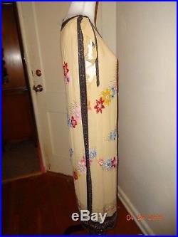 True Vintage 1920's 40 bust Heavy beaded, Amazing dress silk slip included