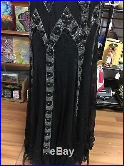 True Vintage 1920's Flapper Dress Black Silk Chiffon Beaded Sequin Fringe Slip