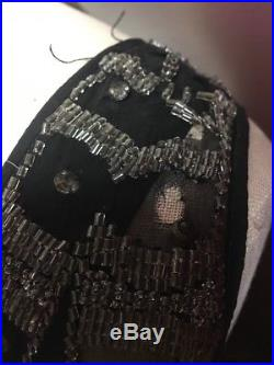 True Vintage 1920s Flapper Dress Black Silk Chiffon Beaded Sequin Fringe Slip