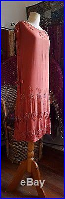 True Vintage 1920s two piece dress gown silk beaded chemise slip gatsby flapper
