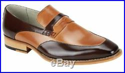 Two Tone Tan Brown Moccasin Loafer Slip Ons Vintage Leather Formal Dress Shoes