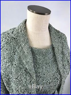 UE- VTG 60s Dusty Aqua Silk Looped Ribbon Sheath Dress+Bolero Jacket+Slip S/M